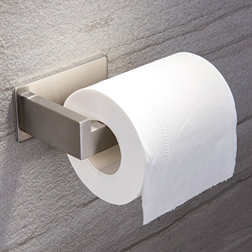 YIGII Toilet Paper Holder Adhesive - 3M Self Adhesive Toilet Tissue Holder for Toilet Roll Bathroom Stick on Wall Stainless Steel Brushed (Steel Bullet Foot)