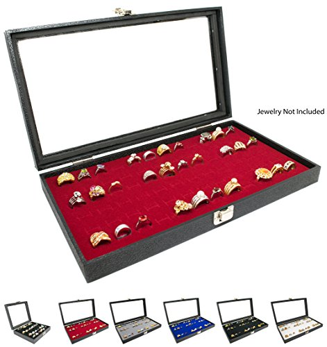 Novel Box Glass Top Black Jewelry Display Case + Red 72 Slot Ring/Cufflink Display Insert + Custom NB Pouch
