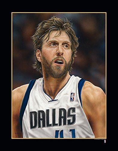 Black Dallas Mavericks Frame (NBA Dallas Mavericks Dirk Nowitzki Victory Fine Art Print on Paper, 19