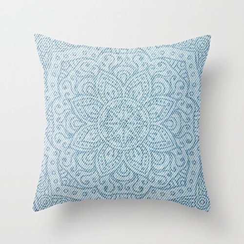 Decorative Square Pillow Case Cushion Cover 16X16 Inches Mandala On Light Blue Jeans