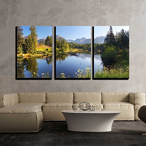 Nature Mountain Scene with Beautiful Lake in Slovakia Tatra Strbske Pleso x3 Panels