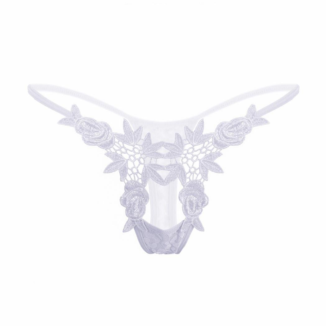 Elogoog Hot Sale 2018 Womens Open Crotch Underwear Thongs Mini Low Waist Lace G-Strings Sexy Panties (White) by Elogoog Hot Sale 2018 (Image #5)
