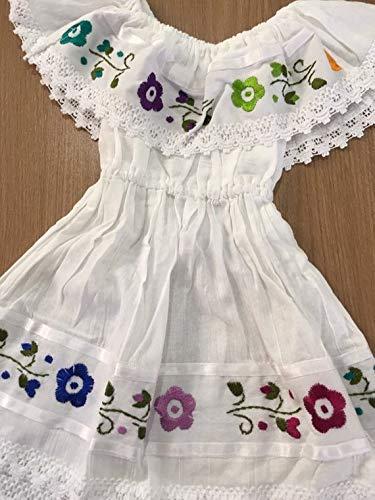 atarse en gran selección de 2019 buscar genuino Vestido Bordado campesino mexicano color blanco talla un año ...