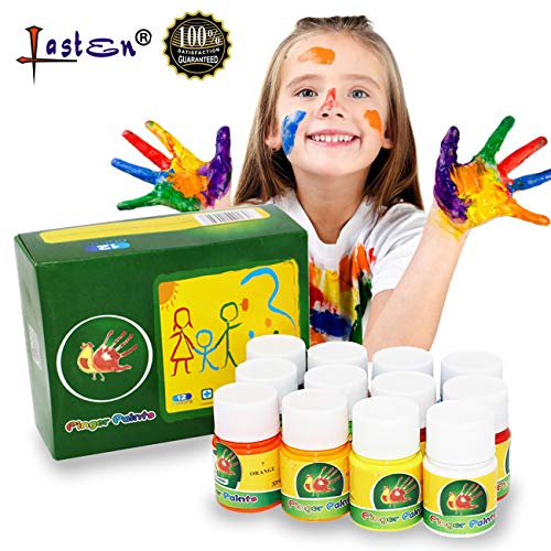 Lasten 12 Colors Finger Paint Set for Toddlers,Non Toxic & Washable Kid