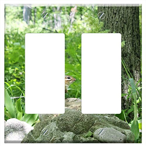(Switch Plate Double Rocker/GFCI - Chipmunk Nature Outdoors Animal Wildlife Woodland)