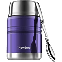 Newdora Insulated Stainless Steel Food Jar with Folding Spoon, Braised Beaker, Bag-Vacuum Double Walled BPA Free,Unbreakable,Leak Proof 17 Ounce (Blue)