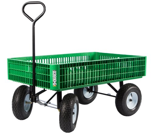 Farm Tuff 30-Inch by 46-Inch Crate Wagon with 5-Inch by 13-Inch Tires, Green/Grey/Blue