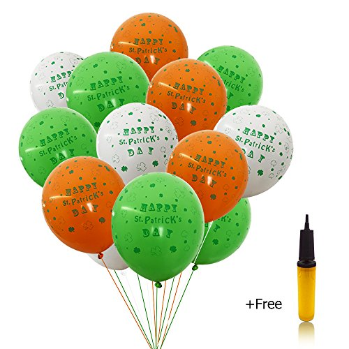 St Patricks Day Party Decorations 100 PCS 12 Inches Irish Flag Color Balloons, Emerald Green White Orange Shamrocks Latex Balloon with a Hand Held Air Inflator Green Party Supplies