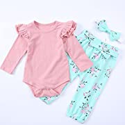 Gotd Infant Toddler Baby Girl Clothes Long Sleeve Romper Tops+Floral Pants Headband Winter Outfits Christmas Spring (0-6 Months, Pink)