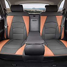FH Group PU205013BROWNBLACK Bench PU205BROWNBLACK013 Ultra Comfort Leatherette Rear Seat Cushions Brown and Black