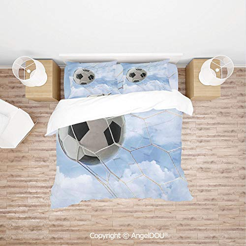 PUTIEN Modern Cotton Bedding 4 Pieces Set Duvet Cover Set,Soccer Ball in Goal with Cloudy Sky Summertime Outdoor Activities Sporting,with Zipper Closure Home Bedding Sets. -