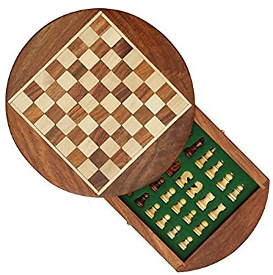 Christmas Round Chess Set with Drawer 7 Inches Premium Travel Chess Board Game Handmade in Fine Rosewood with Chessmen Storage Drawer Gifts for Kids & Adults