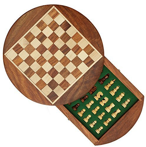 Chess Board Round (SouvNear 7 Inch Round Chess Set with Drawer - Premium Travel Chess Board Game Handmade in Fine Wood with Chessmen Storage Drawer - Christmas and Holiday Gifts)