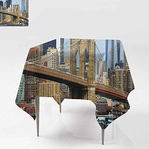 AndyTours Stain Square Tablecloth,Urban,Skyline of Brooklyn New York USA Cityscape Bridge Buildings and River Coastal Scenery,High-end Durable Creative Home,36x36 Inch Multicolor