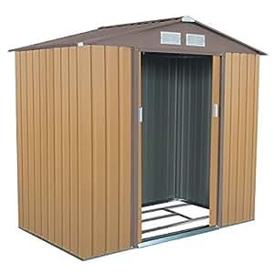 Goplus 7' X 4' Outdoor Storage Shed Tool House Sliding Door Steel Garden Backyard Sheds (Khaki)