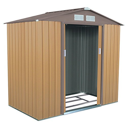 Goplus 7' X 4' Outdoor Storage Shed Tool House Sliding Door Steel Garden Backyard Sheds (Khaki) by Goplus