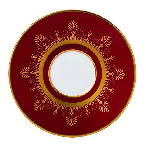 Wedgwood Anthemion Ruby Tea Saucer, Red (6