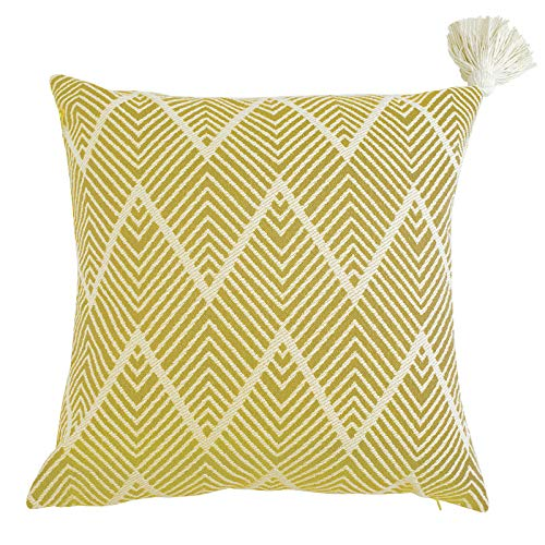 (Ojia Reversible Geometric Woven Cotton Tassel Throw Pillow Covers for Home, Party, Car, Office and Outdoor Decoration (18 x 18 Inch, Yellow))