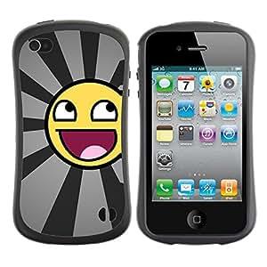 LASTONE PHONE CASE / Suave Silicona Caso Carcasa de Caucho Funda para Apple Iphone 4 / 4S / Funny Awesome Smiley
