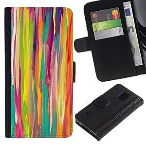 Billetera de Cuero Caso Titular de la tarjeta Carcasa Funda para Samsung Galaxy S5 V SM-G900 / Lines Watercolor Kids Art Painting / STRONG