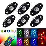 #4: OPPULITE RGB Led Rock Light Kit With Bluetooth Smartphone APP Control 14 Colors/DIY Color 15 Turning Modes Timing Music Mode Flashing Neon Lights Kits For Off Road Truck SUV ATV Motorcycle (6pods)