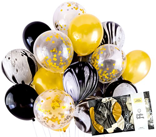 Modern Gold and Black Marble Agate Confetti Balloon Party Decoration (20pc, 12