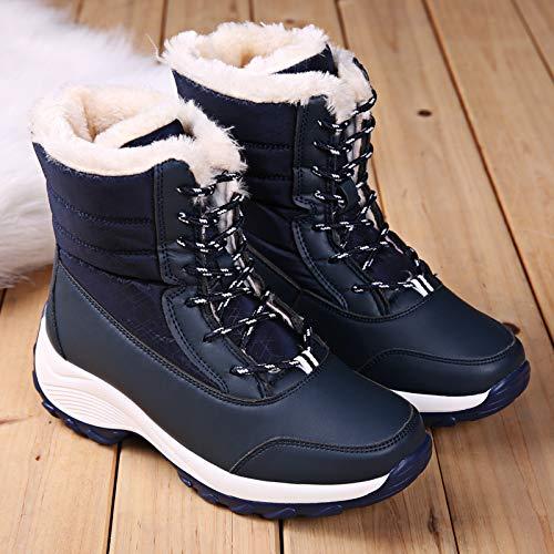 Et Neige Femmes Chaussures Bottes De Moelleux Les Épaissie Foncé Chenyajuan Chaud D'hiver Bleu Cravate Iw0aF