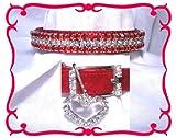 ~Red Velvet and Diamonds~ Crystal Rhinestone Pet Dog Cat Collar #304 SMALL, My Pet Supplies