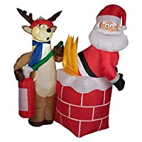 Gema inflable de vacaciones G08 87191 soplado de Santa en la decoración de la escena de fuego