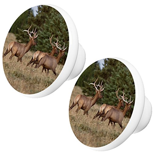 Set of 2 Elk Wildlife Animal Ceramic Cabinet Drawer Knob