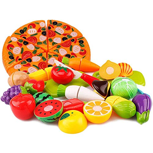 Chosky 26PCS Kichen Cutting Toys Pretend Fruits Vegetable Food Play Set Educational Role Playing Toy for Girls Boys Kids