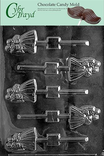 Cybrtrayd W024 Bride and Groom Lolly Chocolate Candy Mold with Exclusive Cybrtrayd Copyrighted Chocolate Molding Instructions