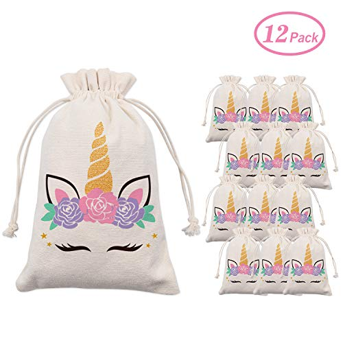 Unicorn Party Favor Bags,Unicorn Theme Birthday Party Goodie Bags,Drawstring Cotton Pouch, Candy Bags for Girls Baby Shower Decorations,Set of 12