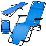 CTKcom Folding Chair,Adjustable Chaise Lounge Chairs Recliner Portable Folding Chairs with Adjustable Pillow Yard Beach Portable Folding Beach Bed For Outdoor/Indoor Office Beach Camping (Blue)