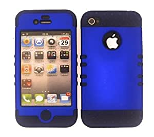 SHOCKPROOF HYBRID CELL PHONE COVER PROTECTOR FACEPLATE HARD CASE AND DARK BLUE SKIN WITH MINI STYLUS PEN. KOOL KASE ROCKER FOR APPLE IPHONE 4 4S BLUE DB-A008-IC