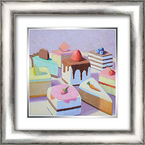 (Pastry Platter 16x16 Silver Contemporary Wood Framed and Double Matted Art Print by Doherty,)