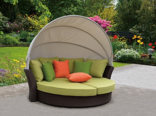 Coutyard Casual Green Eclipse Outdoor Expandable Oval Daybed with Canopy (Daybed Canopy Bedding)