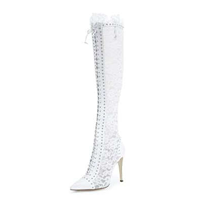 a3fd4787f7b41 Onlymaker Women's Fashion Knee High Boots Lace Slim High Heels Shoes ...