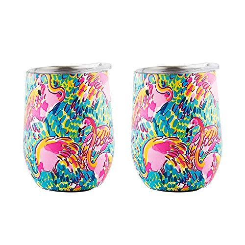 DOKIO 12 oz Flamingo Mug Sippy Cup For Adults Insulated Wine Glass Cup Tumbler Mug Stemless Stainless Steel Double Wall Vacuum With Waterproof Crystal Clear Lid For Hot Drink Coffee -