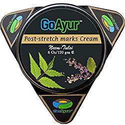 GoAyur Neem Tulsi Ayurvedic Post Stretch Marks Cream, 6 oz, Herbal Body Moisturizer, Paraben Free, 100%  Actives, Natural Fragrance