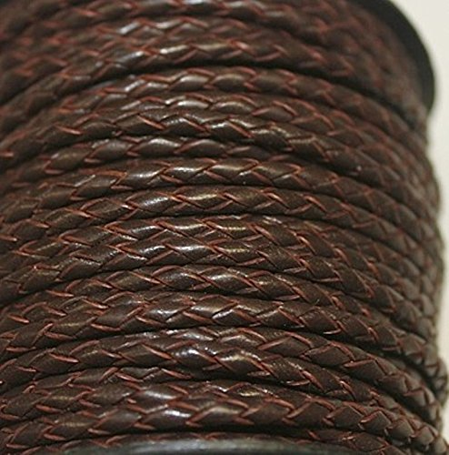 3mm - Round - Bolo (Braided) Leather Laces Available in 1 Yard, 5 Yard, 10 Yards Packing (25 Yards, Red Brown (603))