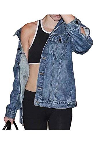 Lunghe Donna Delle Maniche Pulsante A Giacche Di Fanvans Ragazzo Blu Giacca Jeans 4FwqRBq