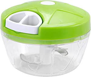 Pull Chop Chopper/Manual Food Processor with Cord Mechanism, Green (Small)