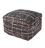 Jaipur Textural Pattern Black Cotton Pouf, 22-Inch x 22-Inch x 13-Inch, Mojave Desert Harris