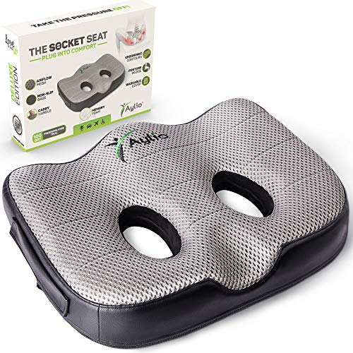 - Socket Seat - Memory Foam Sit Bone Relief Cushion for Butt, Lower Back, Hamstrings, Hips, Ischial Tuberosity
