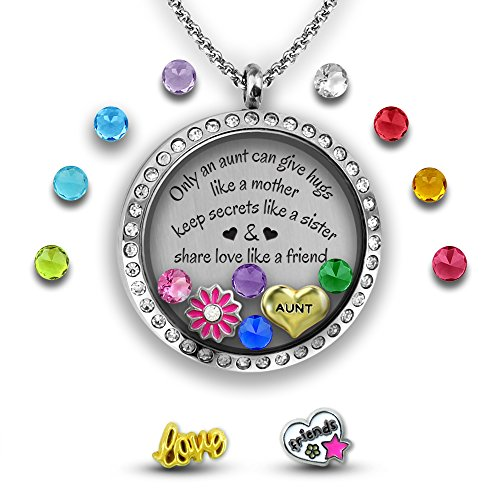 Authentic Jewelry Set (My Aunt Gift from Niece | I love my Aunt Charm Necklace DIY Jewelry Set | Stainless Steel and Glass 30mm Authentic Floating Charm Locket- Memory Locket Filled with Charms | Aunt Jewelry Aunt Necklace)
