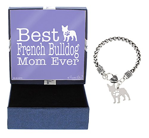 Bulldog Bracelets (Mother's Day Gifts Best French Bulldog Mom Ever French Bulldog Bracelet Gift Silhouette Charm Bracelet Silver-Tone Bracelet Gift for French Bulldog Owner Jewelry Box)
