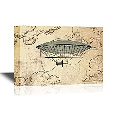 Canvas Wall Art - Retro Style Hot Balloon on Vintage Background with Clouds - Gallery Wrap Modern Home Art | Ready to Hang - 12x18 inches