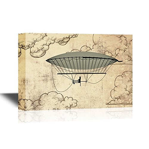 Retro Style Hot Balloon on Vintage Background with Clouds