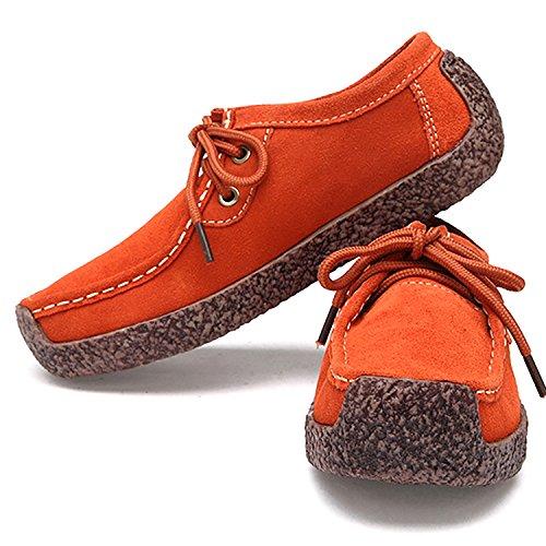Odema Kvinna Bekväma Äkta Läder Platta Skor Tillfällig Snörning Gå Sneakers Apelsin
